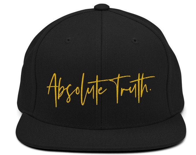 Absolute Truth Flat Bill Snapback Cap - Embroidered 6-Panel Structured Baseball Hat - Black Hat & Visor
