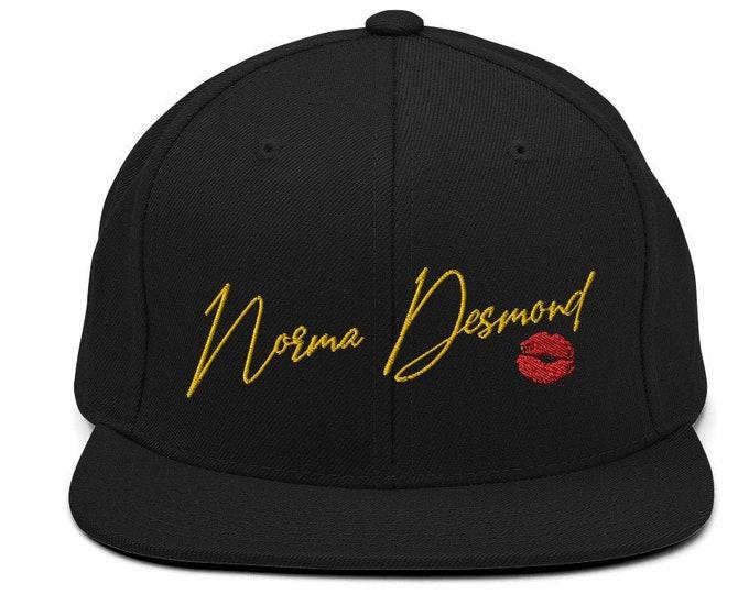 Norma Desmond Flat Bill Snapback Cap - Embroidered 6-Panel Structured Baseball Hat - Black Hat & Visor