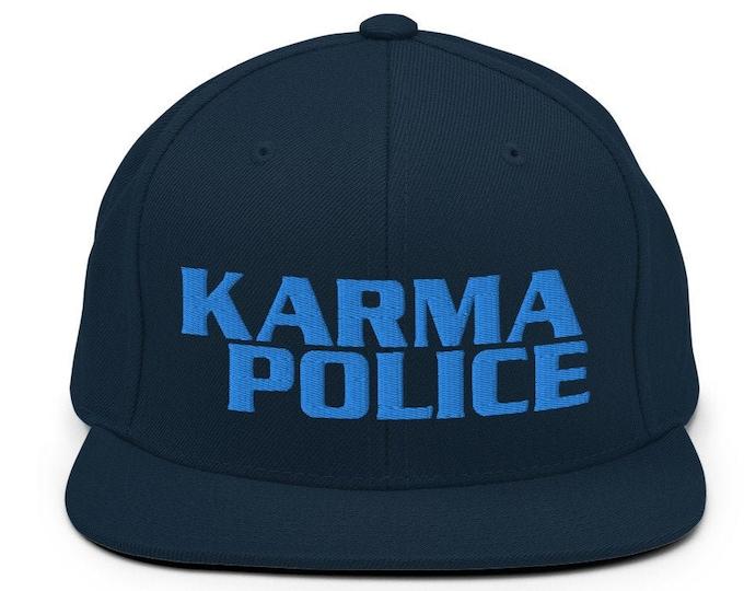 Karma Police Classic Flat Bill Snapback Cap - Embroidered 6-Panel Structured Baseball Hat - Dark Navy Hat & Visor