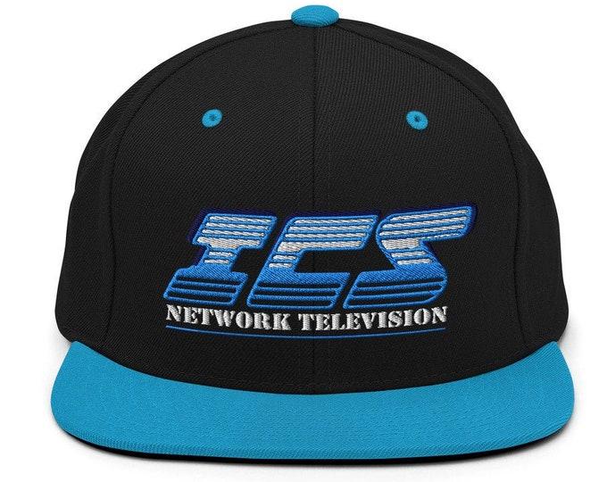 ICS Network Television Classic Flat Bill Snapback Cap - Embroidered 6-Panel Structured Baseball Hat - Black Hat/Teal Visor