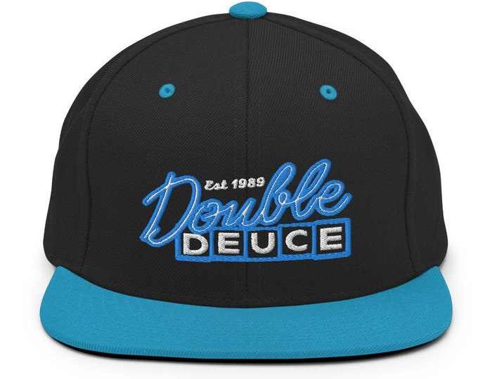 Double Deuce Classic Flat Bill Snapback Cap - Embroidered 6-Panel Structured Baseball Hat - Black Hat/Teal Visor