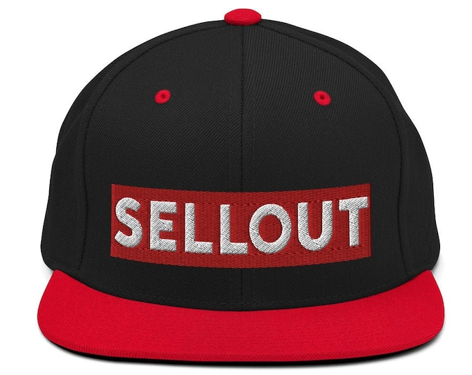 Sellout Classic Flat Bill Snapback Cap - Embroidered 6-Panel Structured Baseball Hat - Black Hat/Red Visor