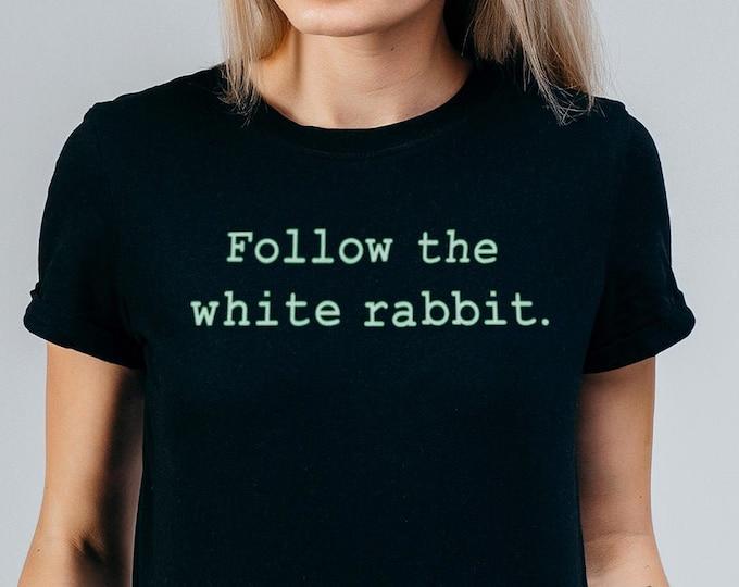 Follow The White Rabbit Women's Black Graphic T Shirt