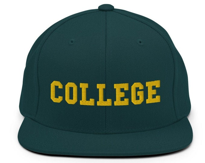 College Classic Flat Bill Snapback Cap - Embroidered 6-Panel Structured Baseball Hat - Spruce Green Hat & Visor