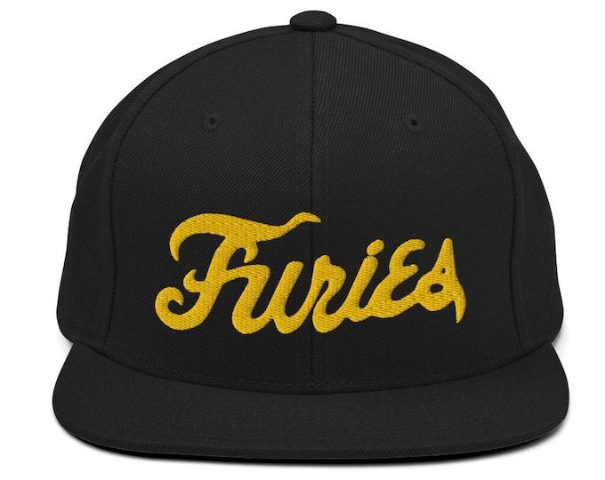Furies Classic Flat Bill Snapback Cap - Embroidered 6-Panel Structured Baseball Hat - Black Hat & Visor