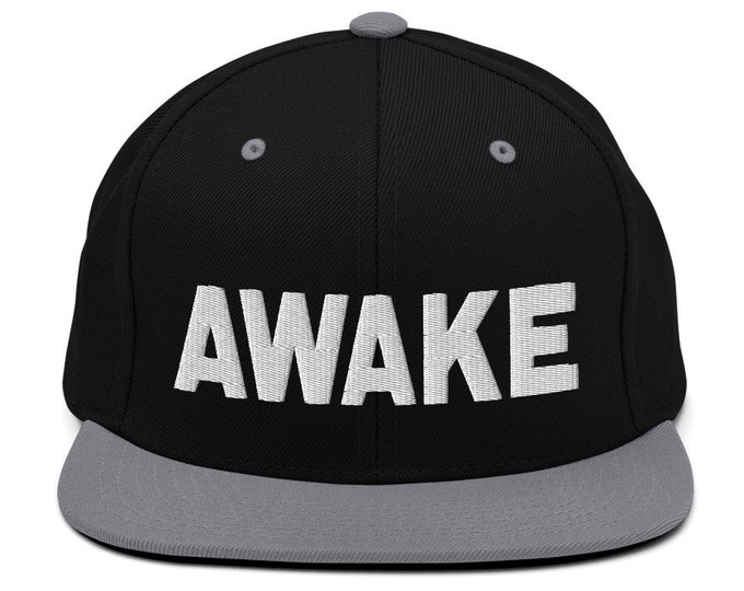 Awake Classic Flat Bill Snapback Cap - Embroidered 6-Panel Structured Baseball Hat - Black Hat/Silver Visor