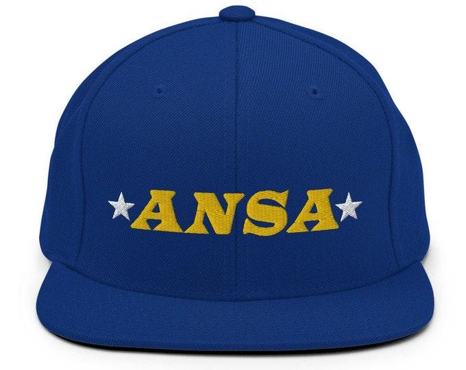 ANSA Spaceship Flat Bill Snapback Cap - Embroidered 6-Panel Structured Baseball Hat - Royal Blue Hat & Visor