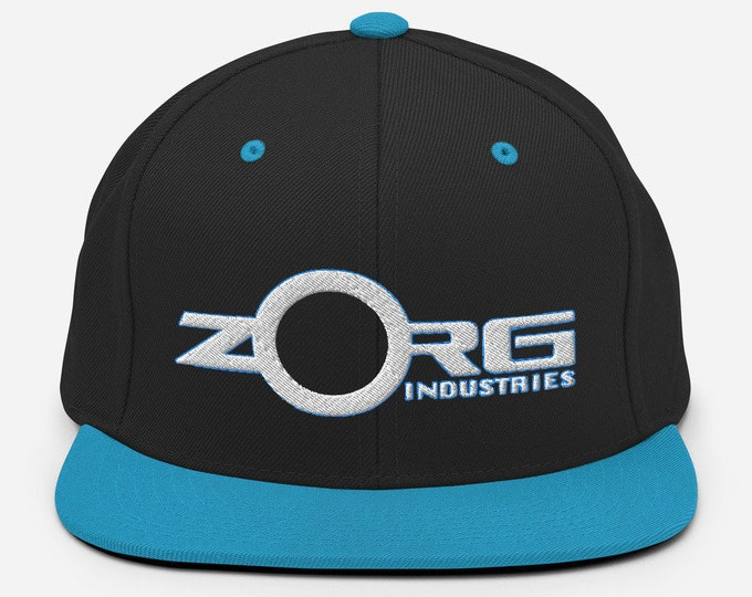 Zorg Industries Classic Flat Bill Snapback Cap - Embroidered 6-Panel Structured Baseball Hat - Black Hat/Teal Visor