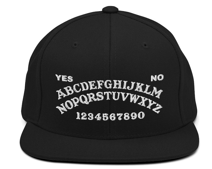 Ouija Board Classic Flat Bill Snapback Cap - Embroidered 6-Panel Structured Baseball Hat - Black Hat & Visor