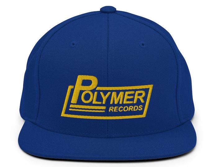 Polymer Records Flat Bill Snapback Cap - Embroidered 6-Panel Structured Baseball Hat - Royal Blue Hat & Visor