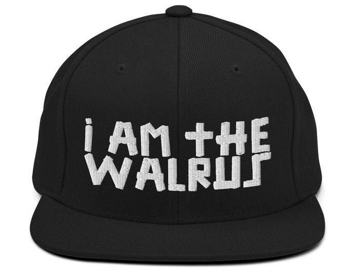 I Am The Walrus Classic Flat Bill Snapback Cap - Embroidered 6-Panel Structured Baseball Hat - Black Hat & Visor