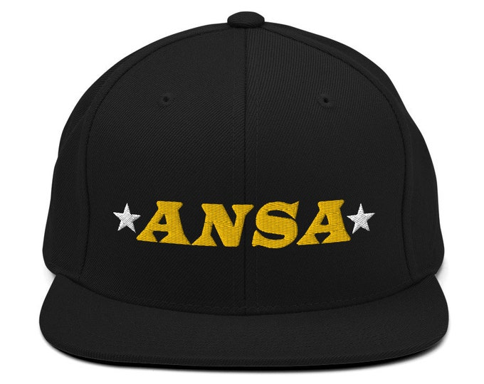 ANSA Spaceship Flat Bill Snapback Cap - Embroidered 6-Panel Structured Baseball Hat - Black Hat & Visor