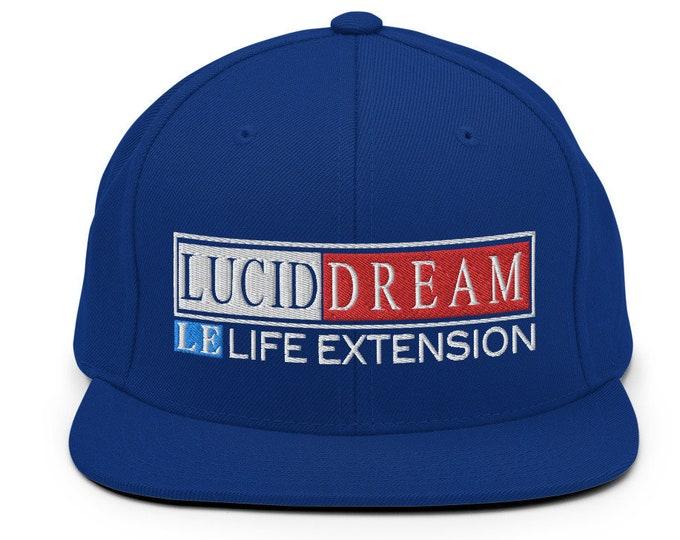Lucid Dream Life Extension Flat Bill Snapback Cap - Embroidered 6-Panel Structured Baseball Hat - Royal Blue Hat & Visor