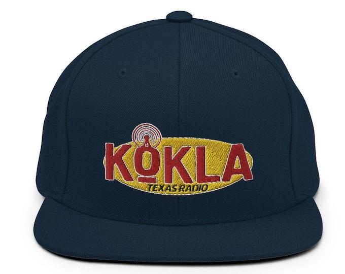 KOKLA Texas Radio Flat Bill Snapback Cap - Embroidered 6-Panel Structured Baseball Hat - Dark Navy Hat & Visor