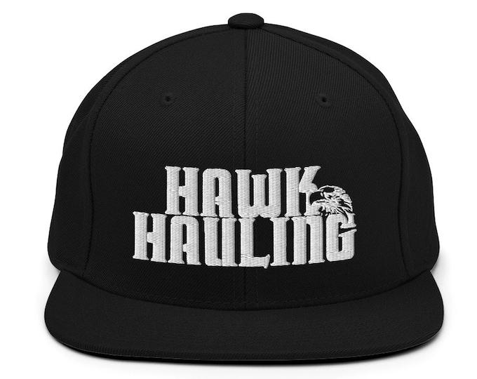 Hawk Hauling Flat Bill Snapback Cap - Embroidered 6-Panel Structured Baseball Hat - Black Hat & Visor