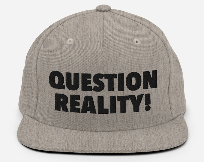 Question Reality Flat Bill Snapback Cap - Embroidered 6-Panel Structured Baseball Hat - Heather Grey Hat & Visor