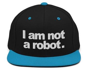 I Am Not A Robot Classic Flat Bill Snapback Cap - Embroidered 6-Panel Structured Baseball Hat - Black Hat/Teal Visor