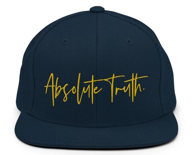 Absolute Truth Flat Bill Snapback Cap - Embroidered 6-Panel Structured Baseball Hat - Dark Navy Hat & Visor