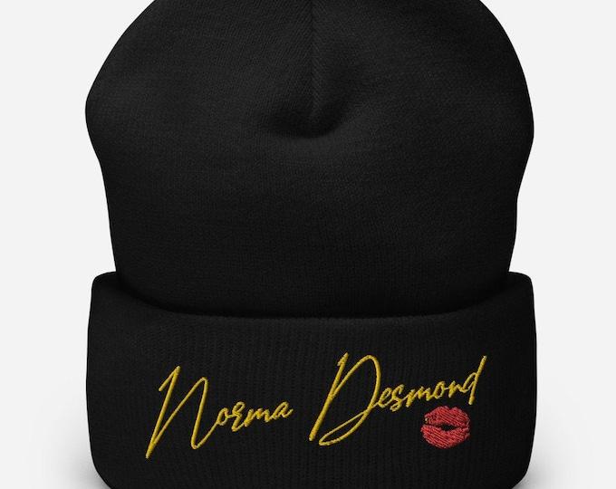 Norma Desmond Black Cuffed Beanie - Embroidered Design - Winter Headwear For Men & Women