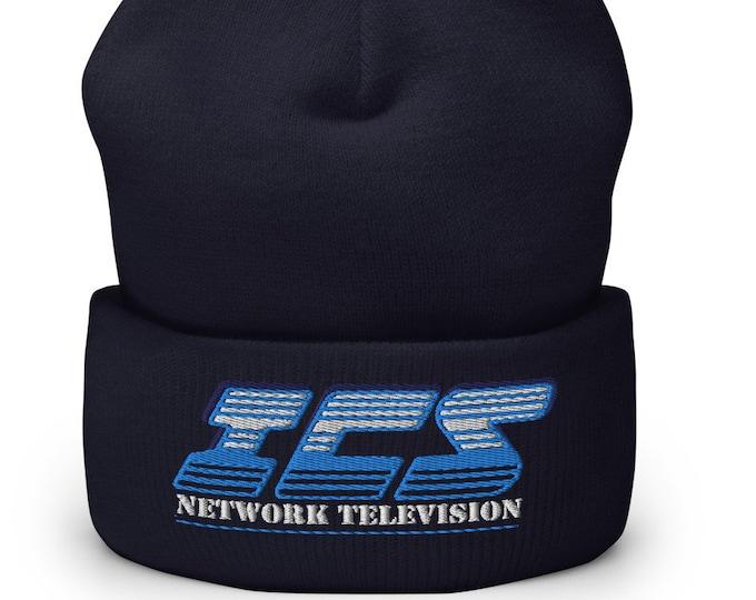 ICS Network Television Navy Cuffed Beanie - Embroidered Design - Winter Headwear For Men & Women