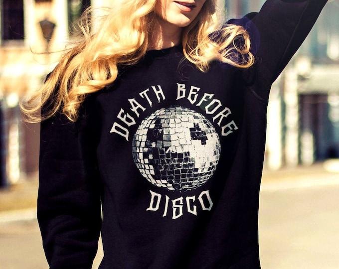 Death Before Disco Men's/Unisex Black Fleece / Cotton Pullover Sweatshirt