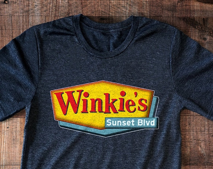 Winkie's 'Vintage Print' Poly-Cotton Men's/Unisex Charcoal Heather Mulholland Drive Graphic T Shirt