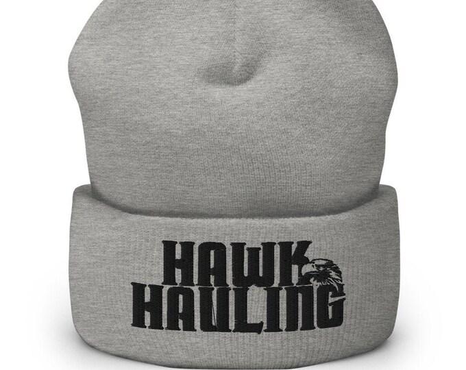 Hawk Hauling Grey Cuffed Beanie - Embroidered Design - Winter Headwear For Men & Women