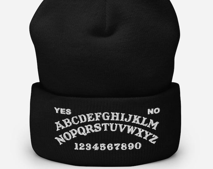 Ouija Board Black Cuffed Beanie - Embroidered Design - Winter Headwear For Men & Women