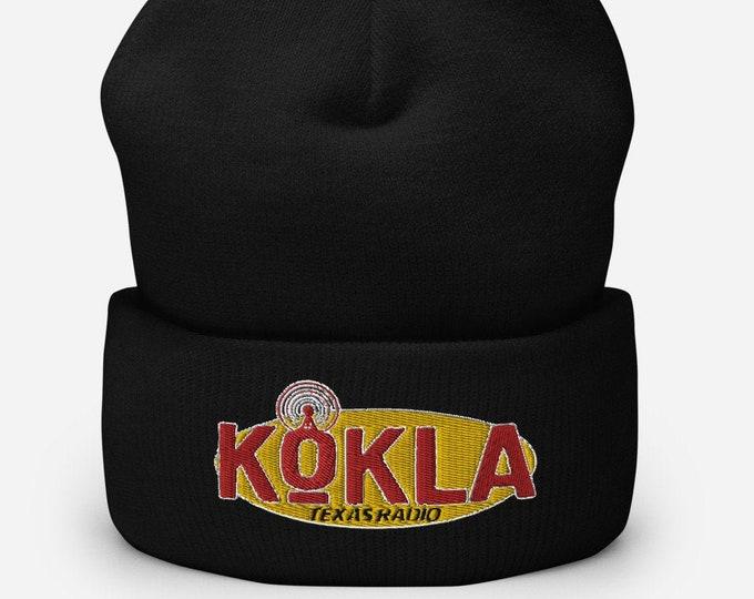 KOKLA Texas Radio Black Cuffed Beanie - Embroidered Design - Winter Headwear For Men & Women