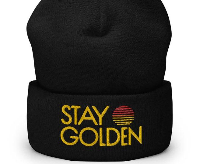 Stay Golden Black Cuffed Beanie - Embroidered Design - Winter Headwear For Men & Women