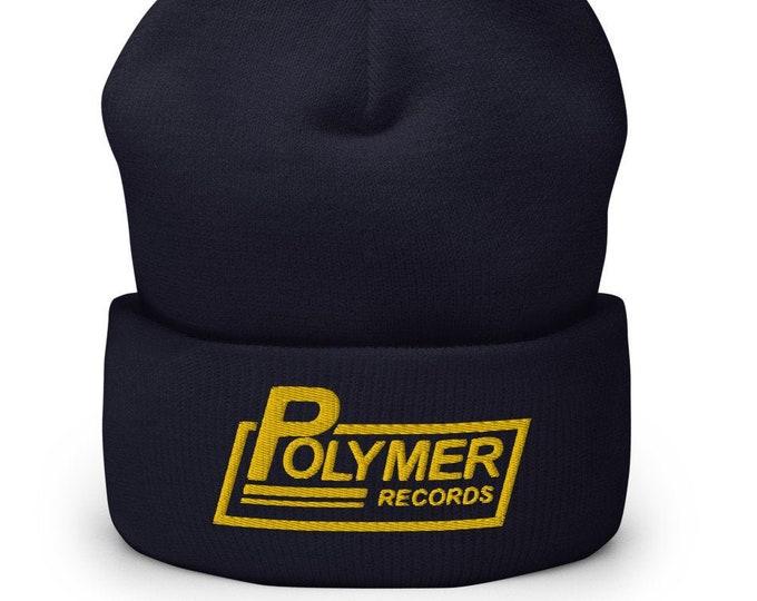 Polymer Records Navy Cuffed Beanie - Embroidered Design - Winter Headwear For Men & Women