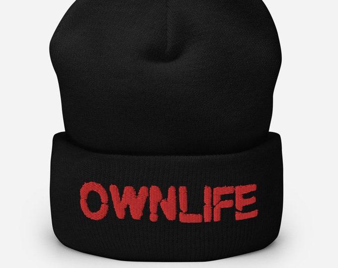 Ownlife Black Cuffed Beanie - Embroidered Design - Winter Headwear For Men & Women