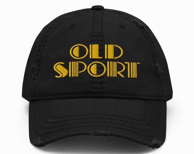 Old Sport Distressed Trucker Hat / Baseball Cap - Embroidered 6-Panel Otto Cap - Black Hat & Visor