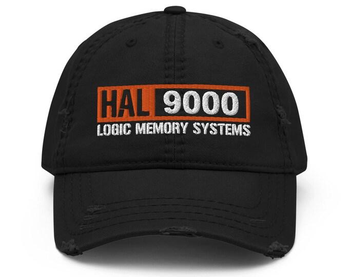Hal 9000 Distressed Trucker Hat / Baseball Cap - Embroidered 6-Panel Otto Cap - Black Hat & Visor