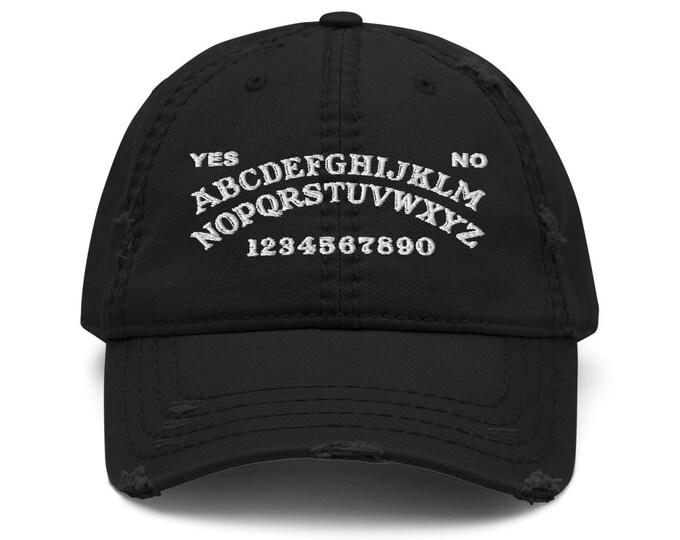 Ouija Board Distressed Trucker Hat / Baseball Cap - Embroidered 6-Panel Otto Cap - Black Hat & Visor