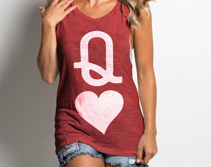 Queen of Hearts 'Vintage Print' Unisex Red Heather Tri Blend Tank Top For Men & Women