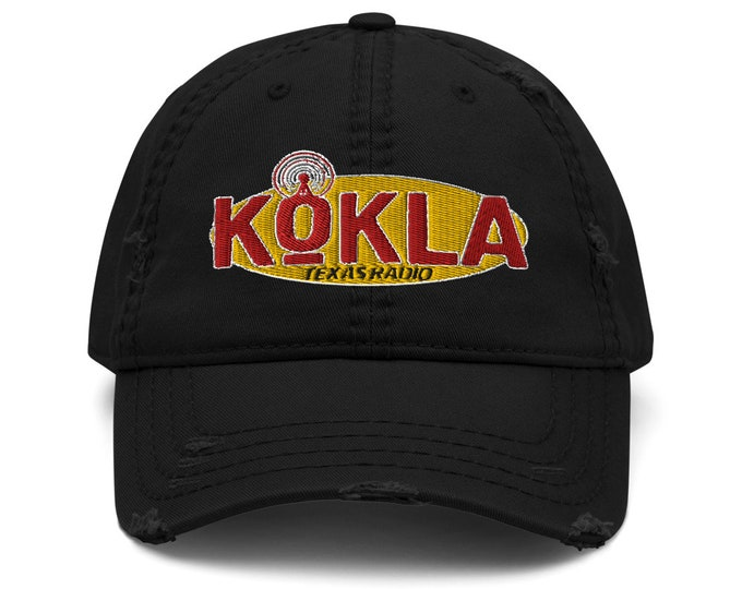 KOKLA Texas Radio Distressed Trucker Hat / Baseball Cap - Embroidered 6-Panel Otto Cap - Black Hat & Visor
