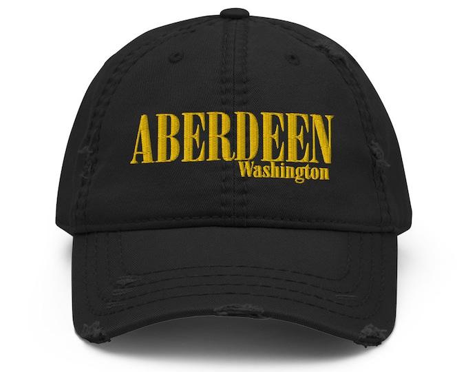 Aberdeen Washington Distressed Trucker Hat / Baseball Cap - Embroidered 6-Panel Otto Cap - Black Hat & Visor