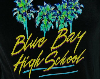Blue Bay High School Men's/Unisex Black Graphic T Shirt   Super Soft 90's Theme Tee