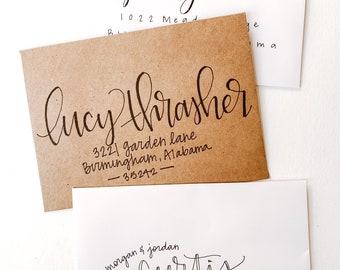 Hand-lettered addressed envelopes, wedding calligraphy, hand lettered return envelopes, hand addressed envelopes