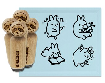 Cat and Books Reading Doodle Square Rubber Stamp for Stamping Crafting