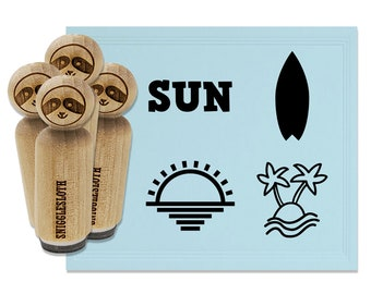 beach stamp hand carved stamp summer stamp gift for her talktothesun surfing stamp card making surfboard rubber stamp