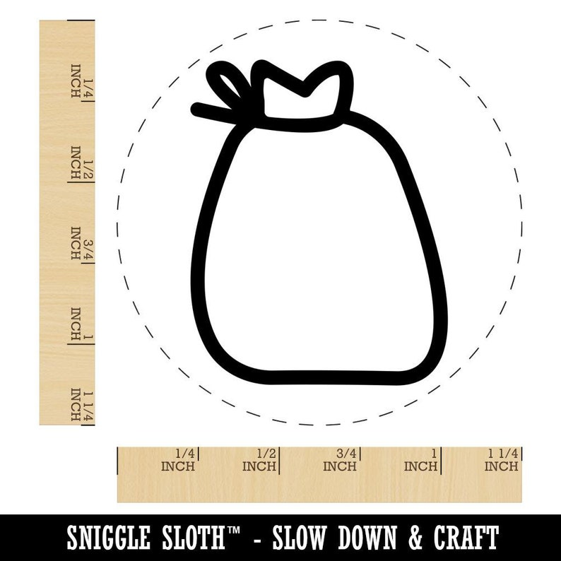 Bag with Tie Outline Rubber Stamp for Stamping Crafting Planners