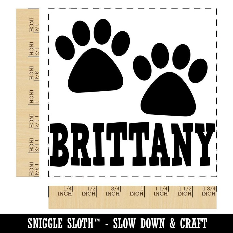 Brittany Dog Paw Prints Fun Text Square Rubber Stamp for Stamping Crafting