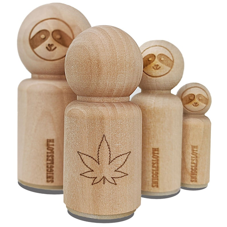 Marijuana Leaf Outline Rubber Stamp for Stamping Crafting Planners