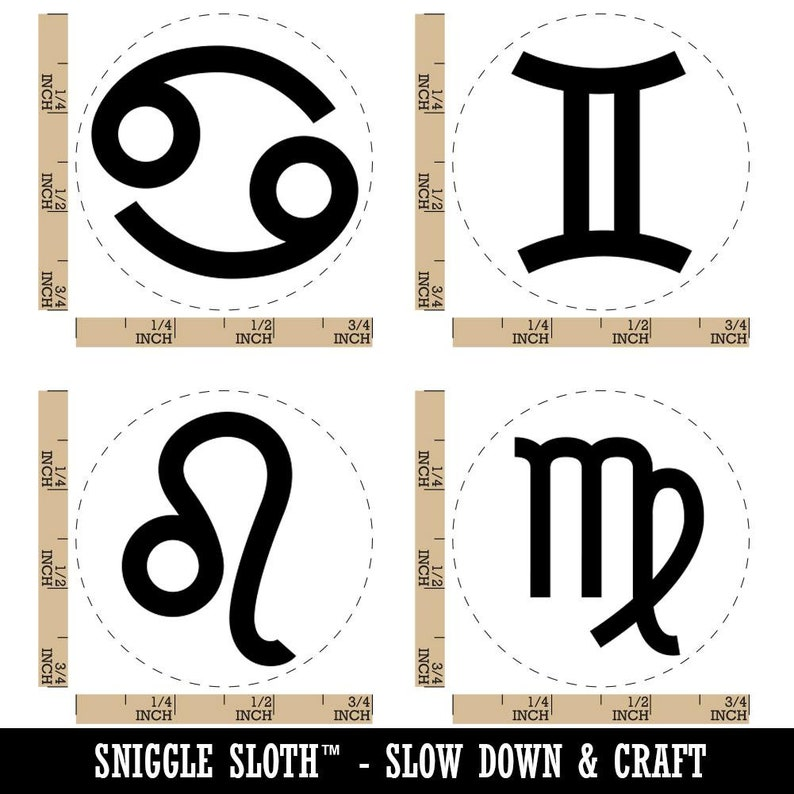 Zodiac Signs Gemini Cancer Leo Virgo Rubber Stamp Set for Stamping Crafting Planners