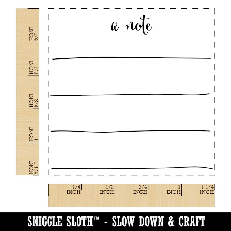 Cute Handwritten Note with Blank Lines Journaling Square Rubber Stamp for Stamping Crafting