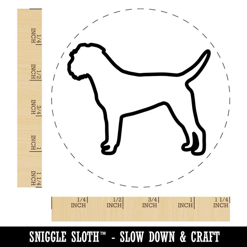 Border Terrier Dog Outline Rubber Stamp for Stamping Crafting Planners