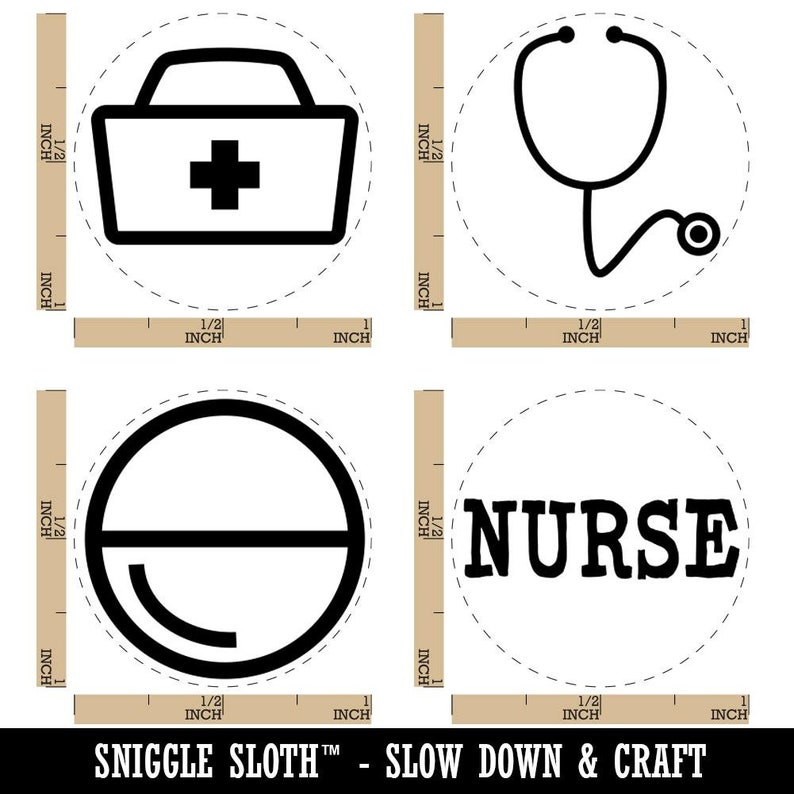 Hospital Nurse RN Stethoscope Hat Bag Pill Rubber Stamp Set for Stamping Crafting Planners