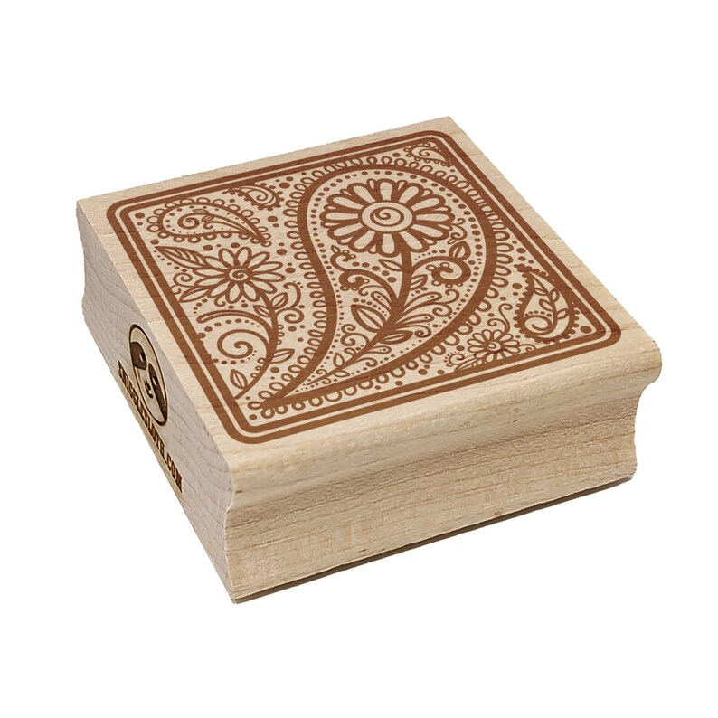 Floral and Swirly Paisley Square Square Rubber Stamp for Stamping Crafting